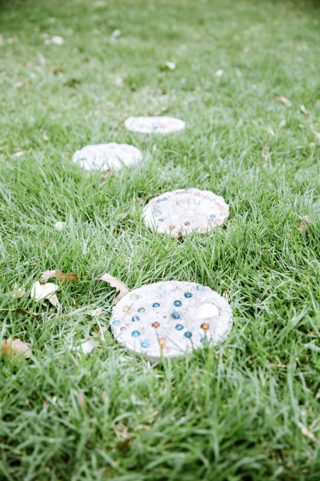 DIY stepping stones made by kids