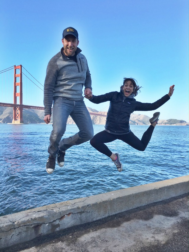 Golden gate bridge jumping picture