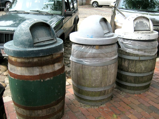 Wine barrel trashcans