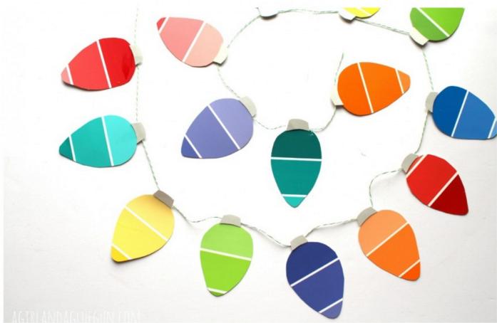 Paint chip christmas light garland