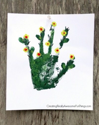 Cactus handprint craft for kids