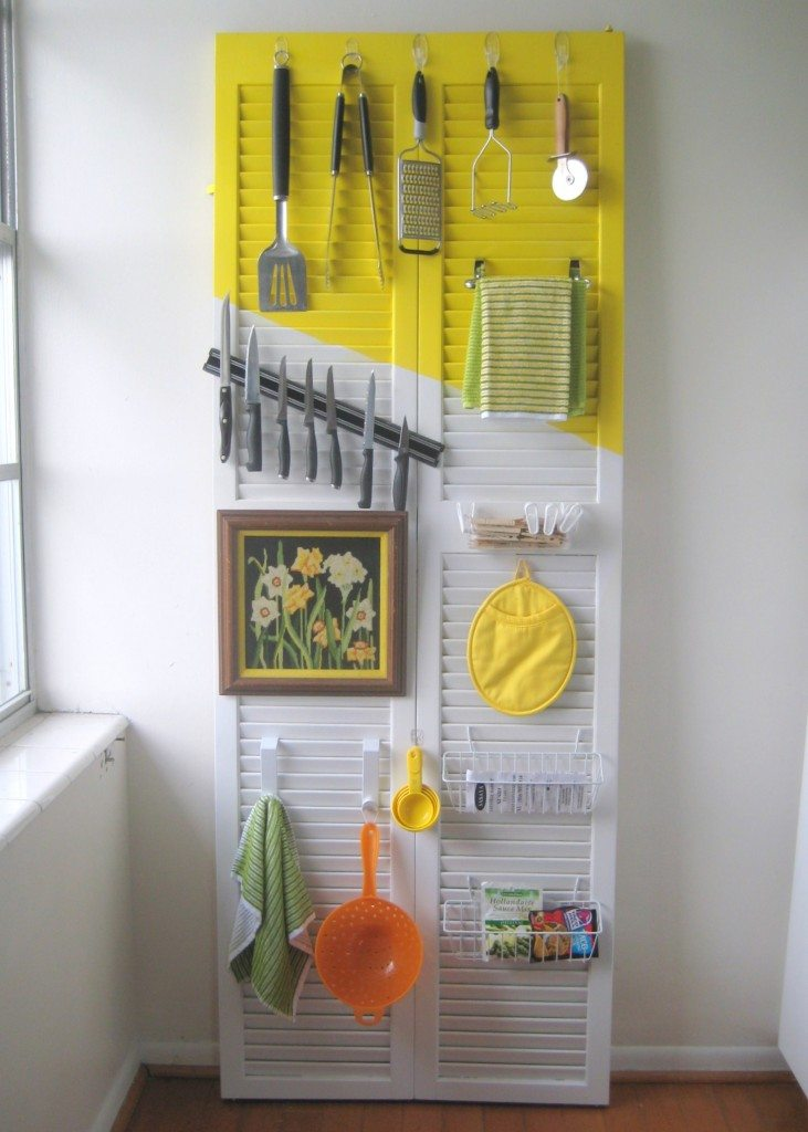 old door turned kitchen organizer