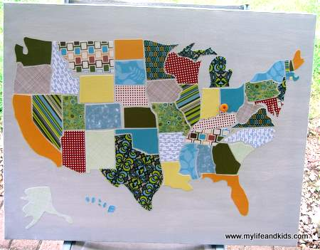 scrap fabric map of the united states