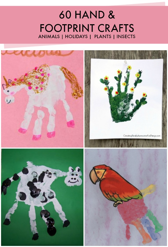 Handprint art ideas for Hand and feet painting ideas