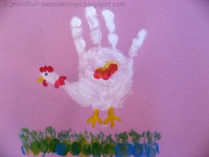 handprint chicken art for kids