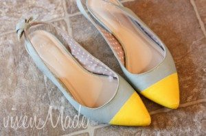shoe makeover with spray paint
