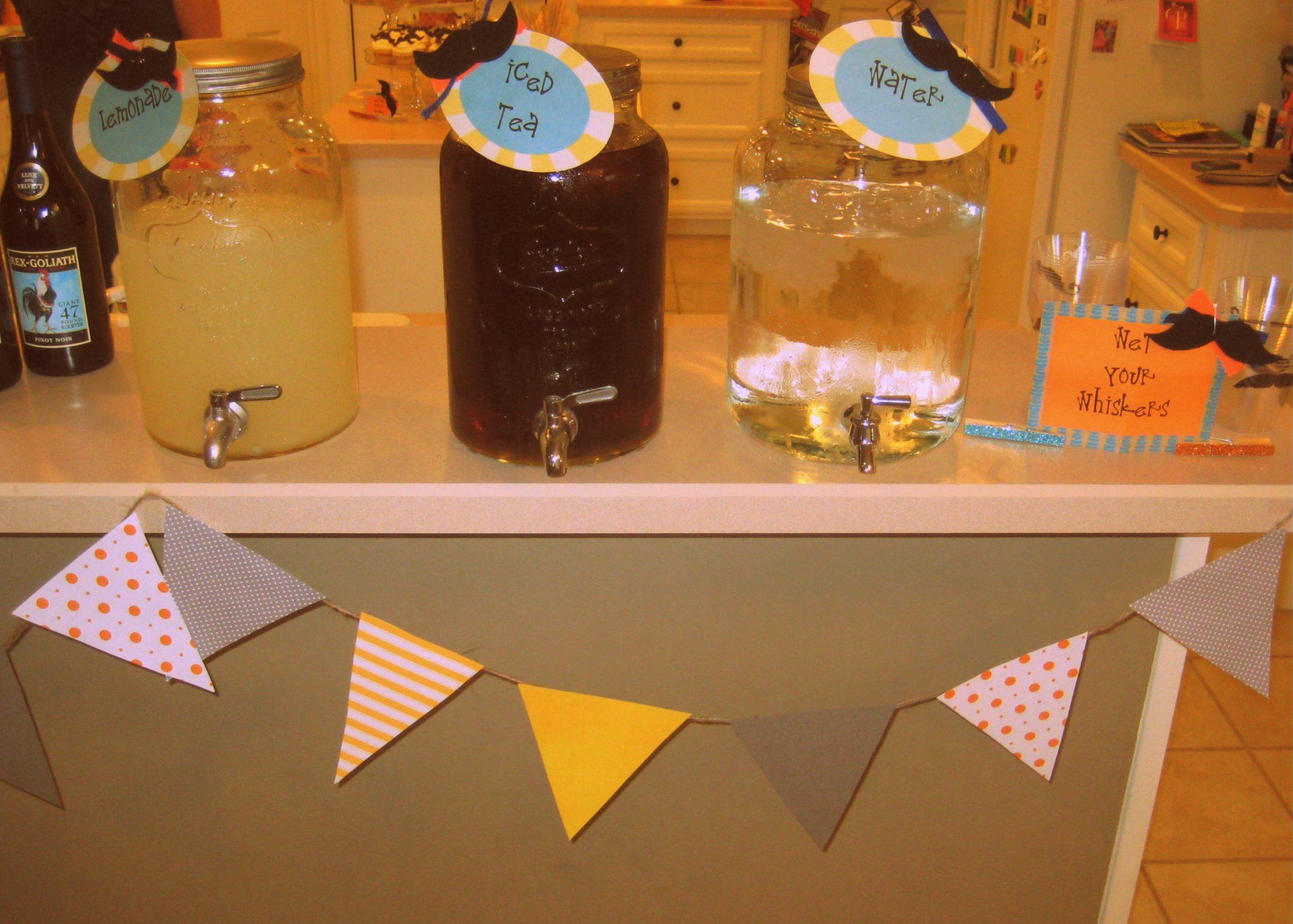 Little man baby shower garland tulle balls menu & food labels