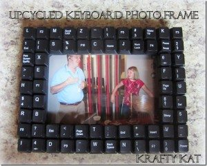 recycled keyboard picture frame