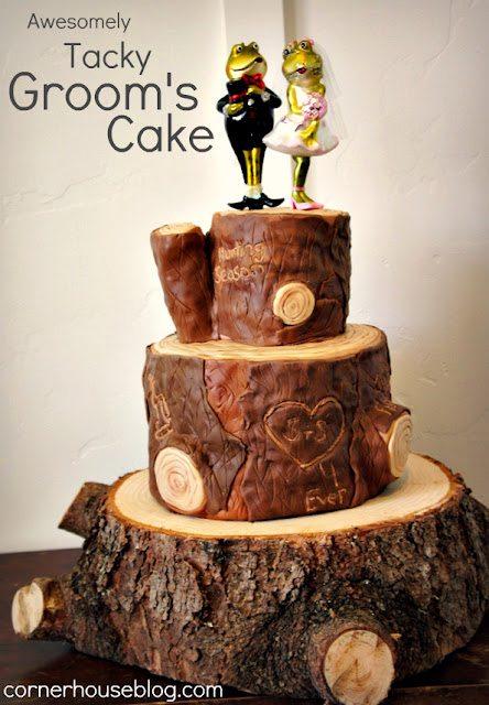wooden log grooms cake