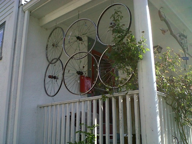 bike tire craft porch screen