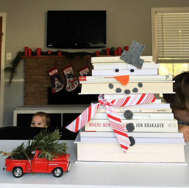 Snowman made out of books