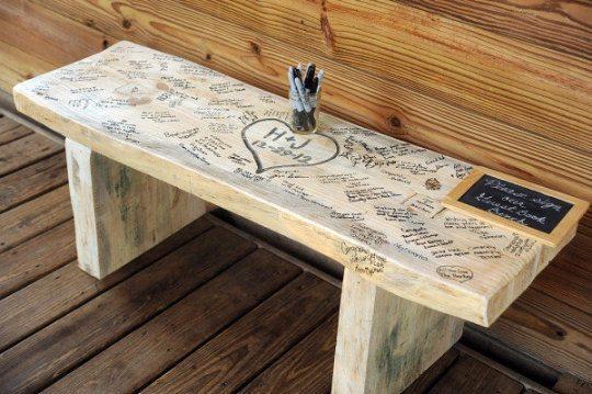 Wooden bench guest book