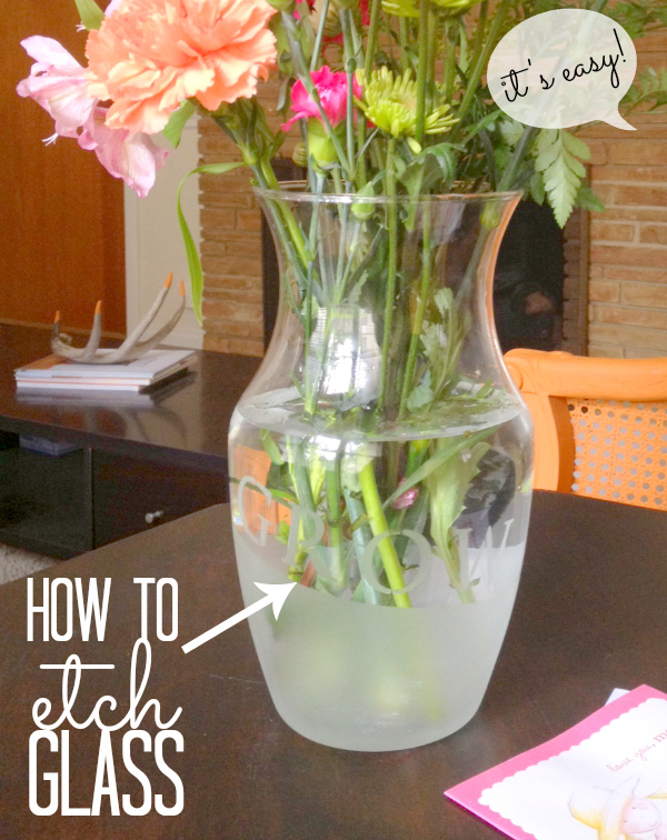 Etched Glass Vase For Mothers Day Craft