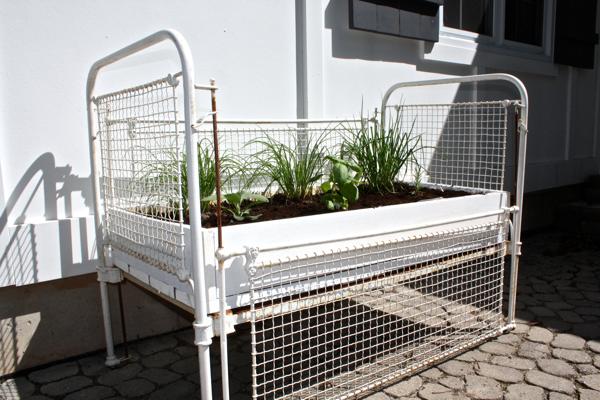Turn a crib into an herb garden