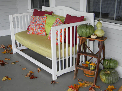 Porch bench made out of a crib