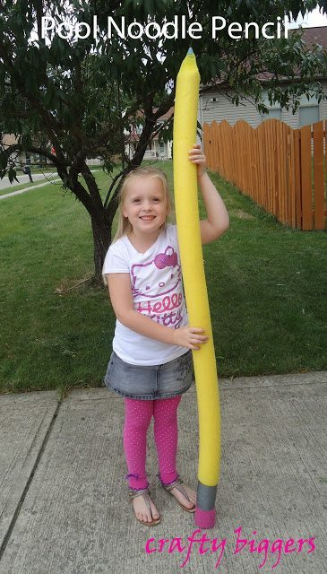 Pool noodle turned giant pencil