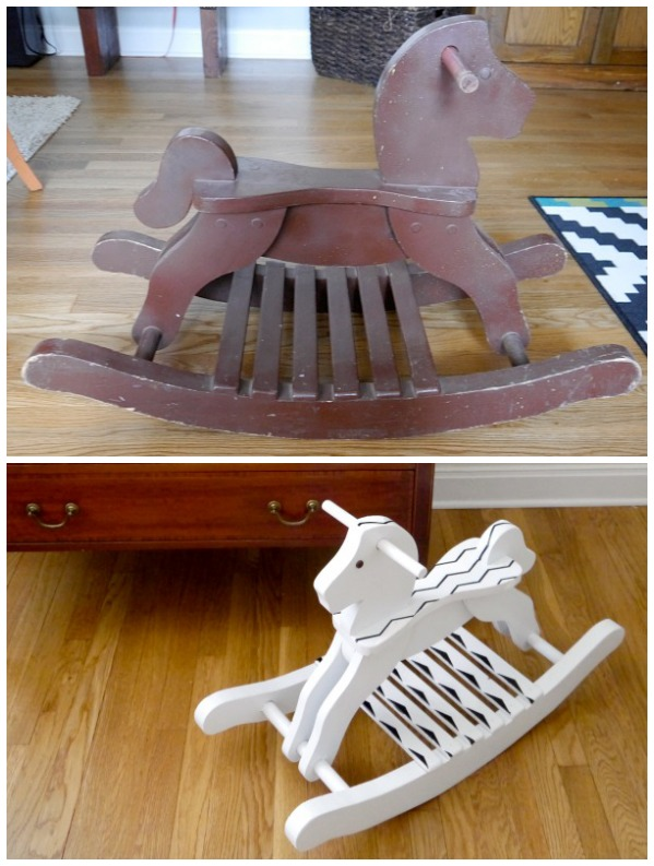 Before and after rocking horse makeover