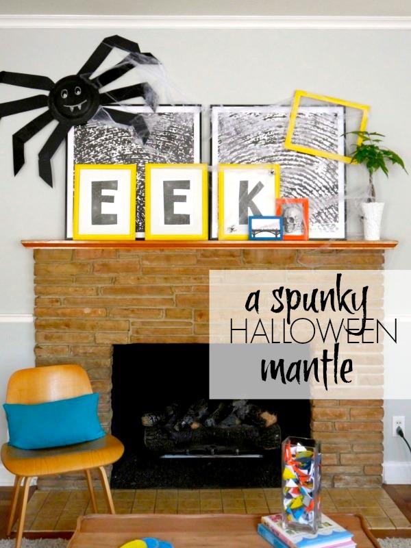 A spunky, spooky Halloween mantle