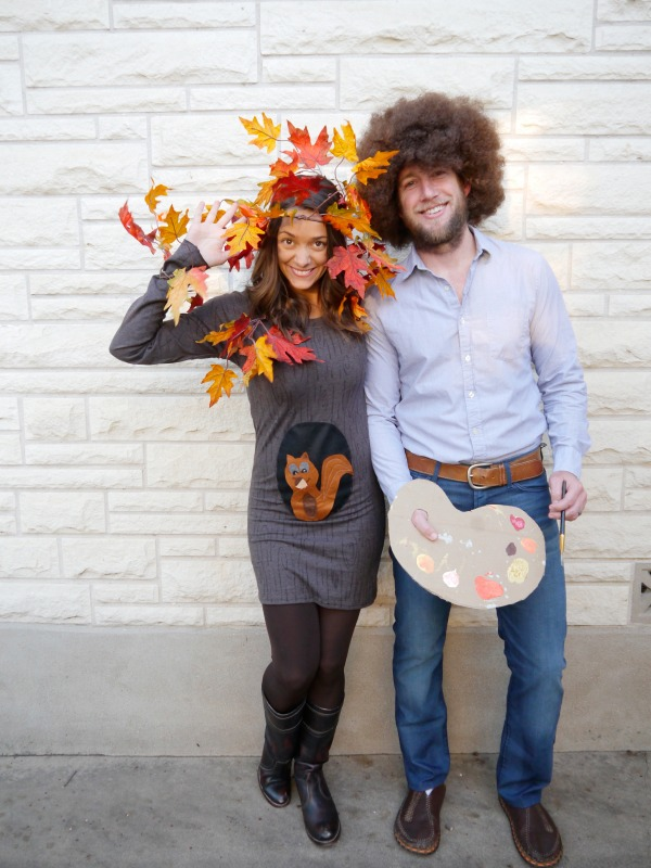 DIY family costume: Bob Ross, Happy Little Tree, and a Squirrel