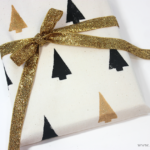 Stamped fabric reusable gift wrap