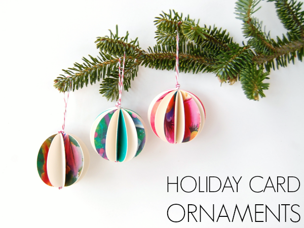Holiday card paper ornaments easy diy ornaments c r a f t for Easy diy christmas cards