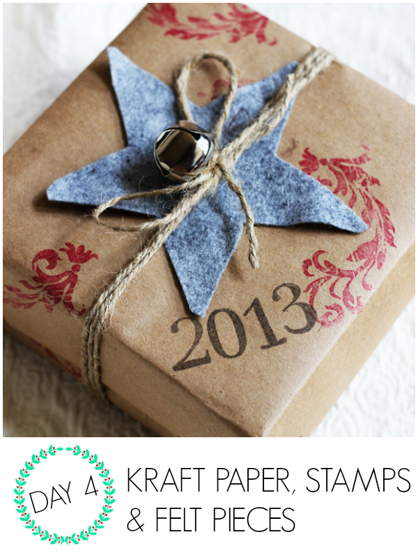 Use kraft paper and stamps to wrap gifts