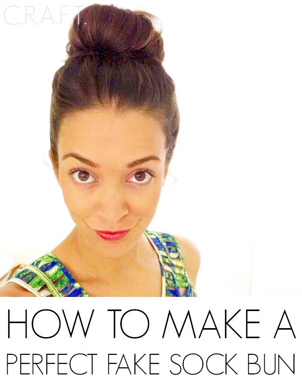 how to make a fake sock bun easy bun c r a f t. Black Bedroom Furniture Sets. Home Design Ideas