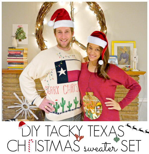 Tacky Texas Christmas Sweater | Christmas Sweater Ideas You Can DIY On A Budget | diy christmas tree sweater