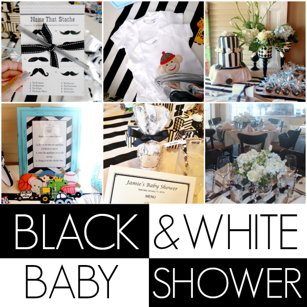 DIY black and white baby shower