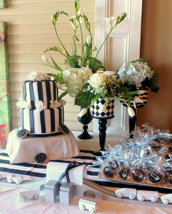 black and white baby shower c r a f t