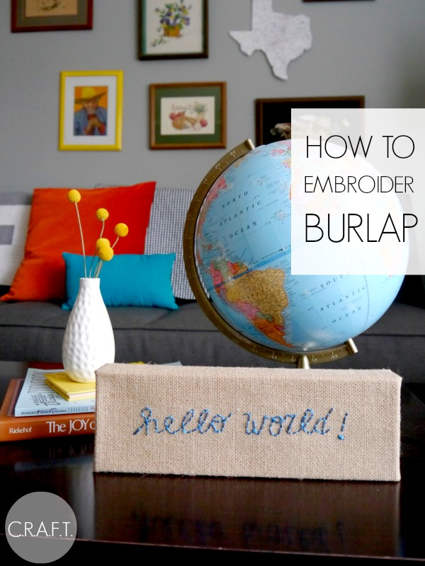 How to embroider burlap