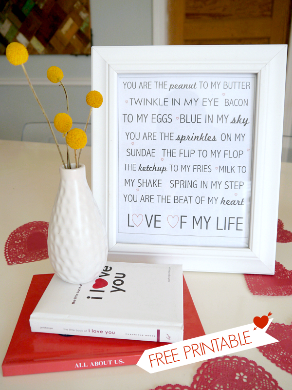 Love of my Life Printable {Valentines Day decorations} - C ... Free Printable Valentine's Day Decorations