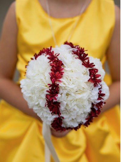 DIY baseball inspired wedding bouquet