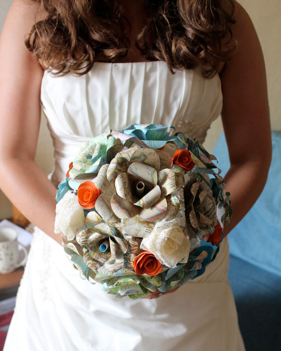 Map flower wedding bouquet