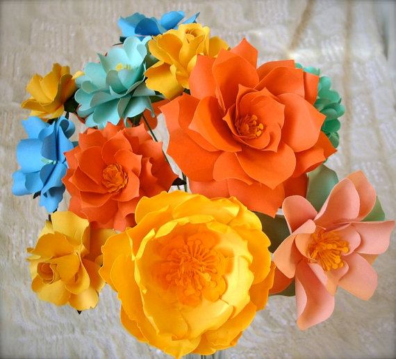 DIY paper flower wedding bouquet