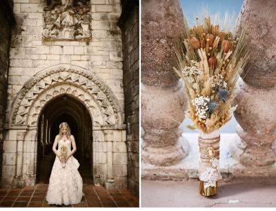 DIY wheat wedding bouquet