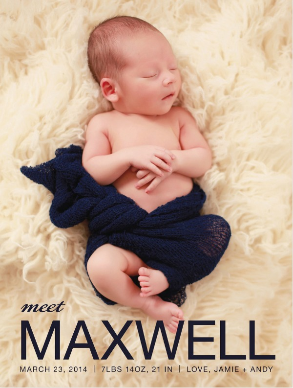 Max Birth announcement