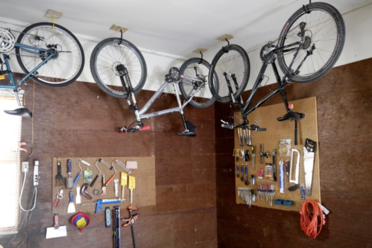 How To Hang A Bike From The Ceiling C, How To Hang Things From Garage Ceiling