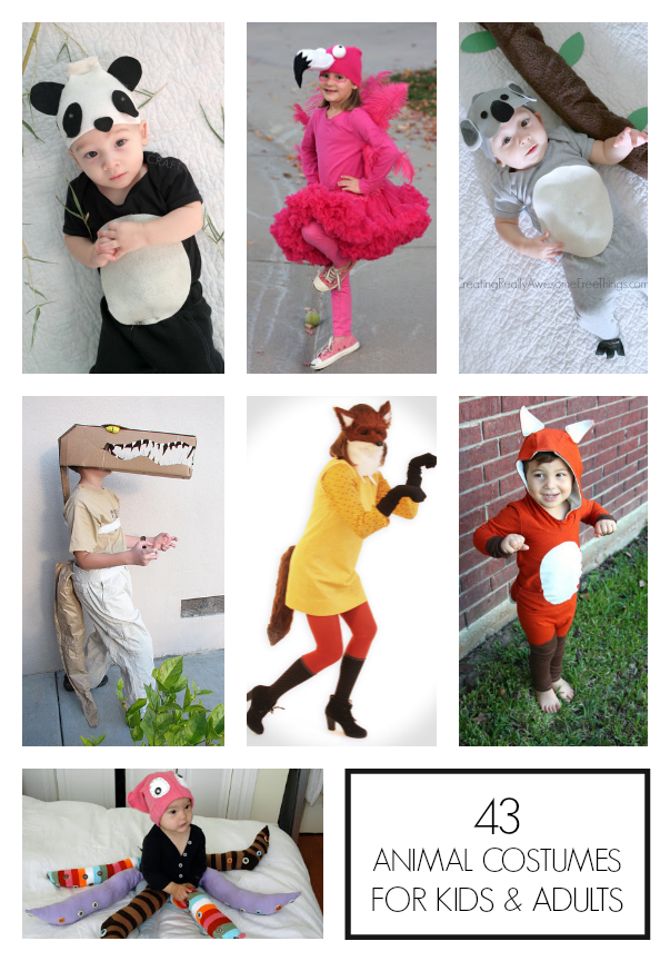 Tons of homemade animal costumes for kids and adults!