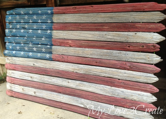 DIY American flag made out of fence posts