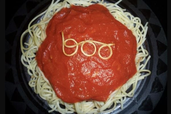 Halloween party food Boo Spaghetti