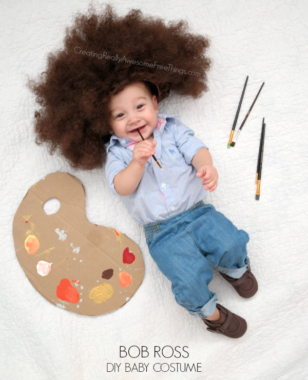 DIY Baby Bob Ross costume