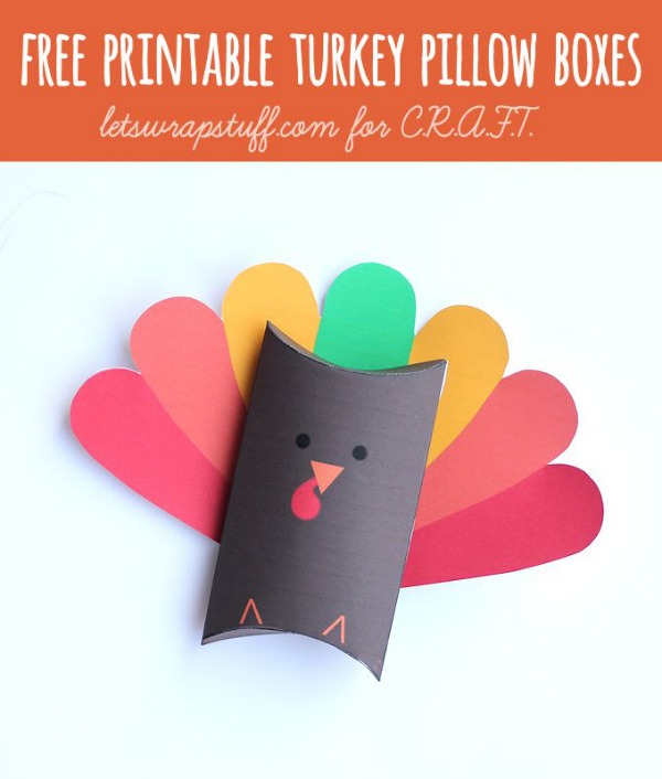 Thanksgiving crafts for kids: Free printable turkey box