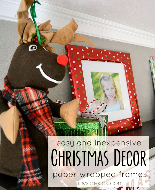 How to wrap frames in wrapping paper... easy Christmas decor!