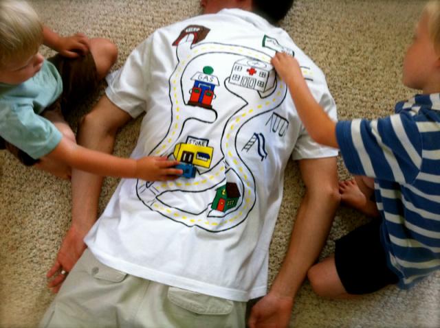 DIY back rub t-shirt for dad