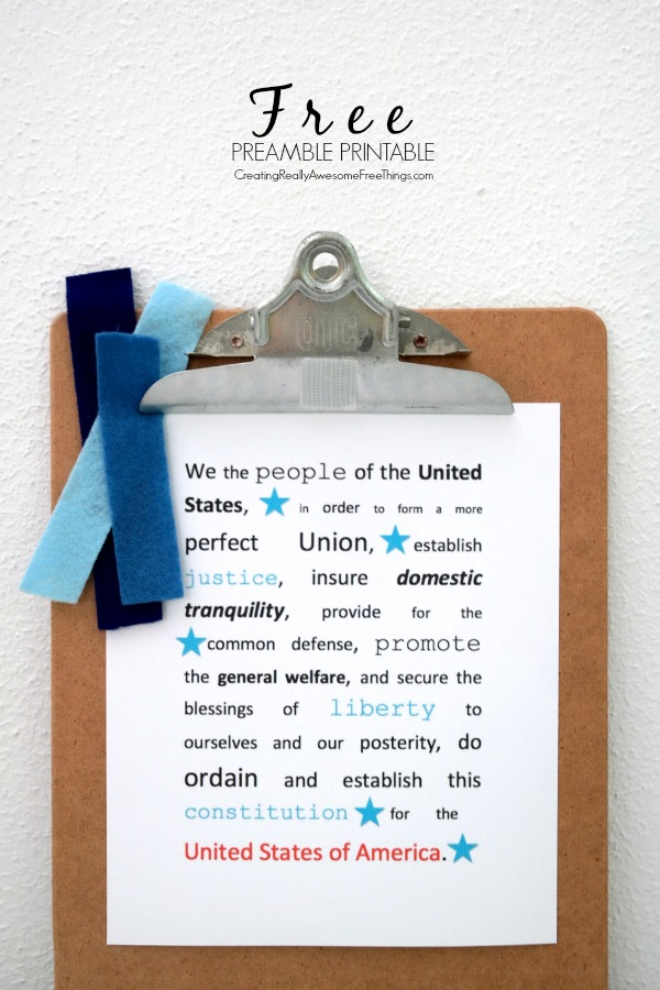 Free printable preamble...fun decoration for the 4th of July!