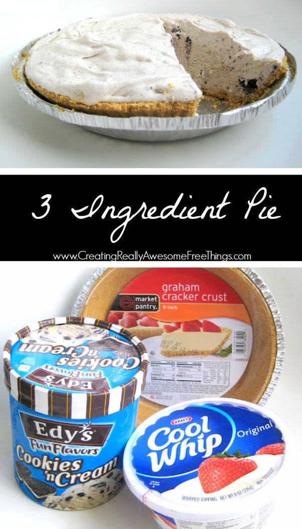 No bake dessert and only 3 ingredientsto make this pie