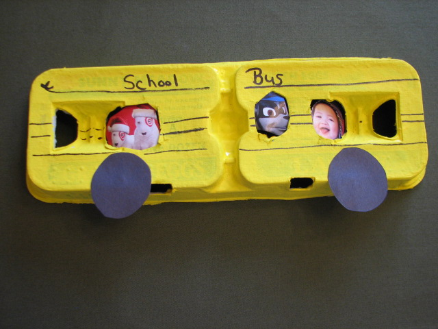 school bus egg carton