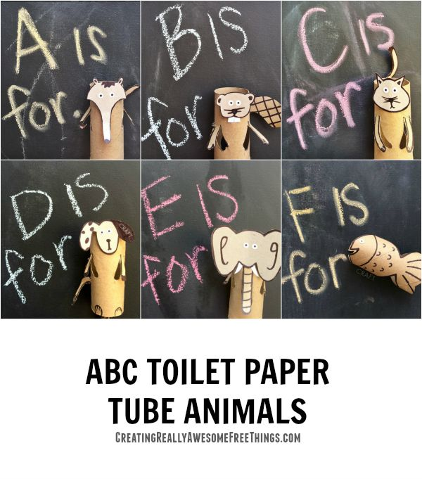 Toilet paper roll animals for every letter of the alaphabet
