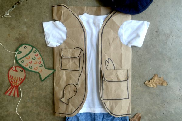 Halloween costume made from a brown paper bag!
